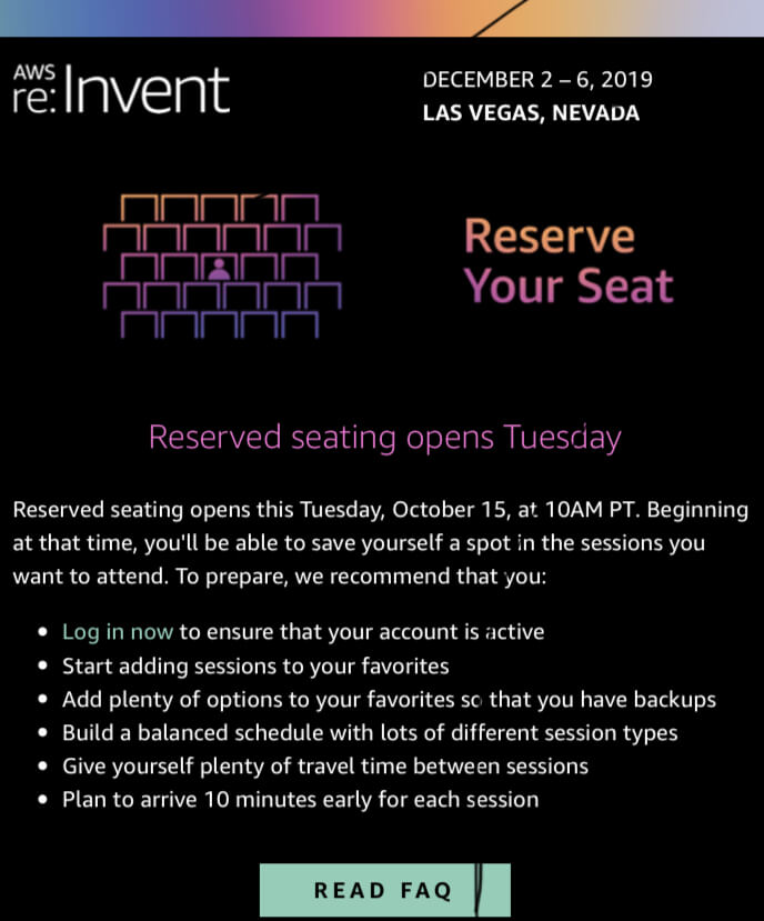 AWS Re:invent seat reservation